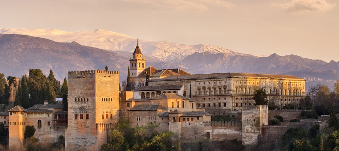 View of the Alhambra in Granada at twilight